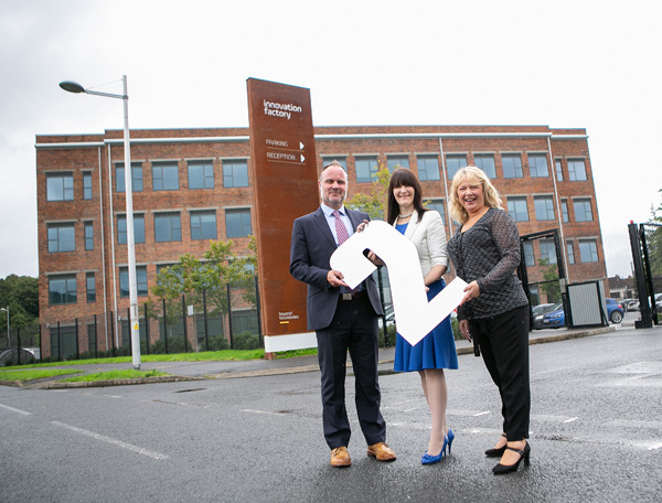 INNOVATE: Shane Smith (Community Engagement Officer),  Majella Barkley (Innovation Director) and Anna McDonnell (Centre Manager) celebrate the second birthday of the Innovation Factory, which has seen the creation of 200 new jobs since opening on the former Mackies site on the Springfield Road in October 2016
