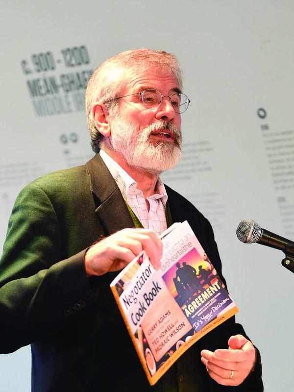 Gerry Adams launching his book at Cultúrlann, The Negotiator's Cook Book