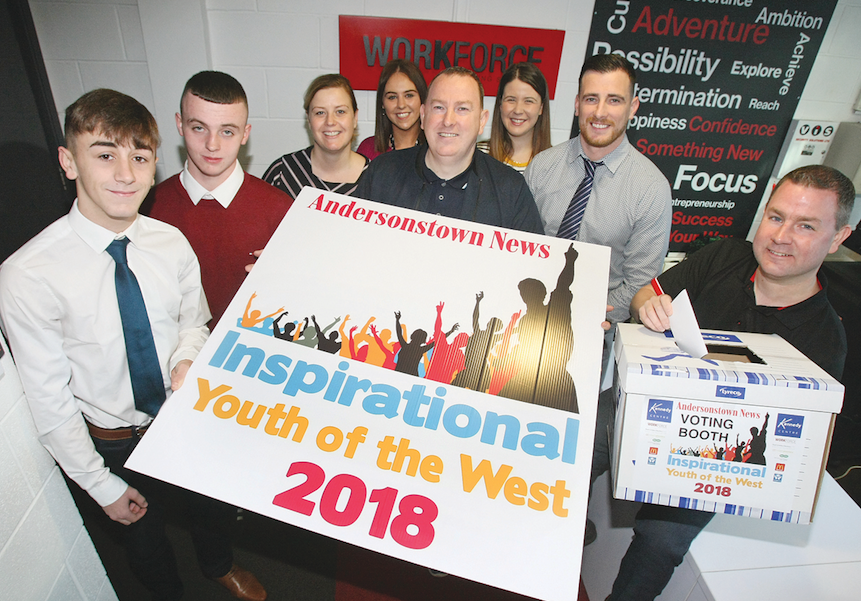 Chris Ward (Far right), Work Force Training Services, casts his vote for the Inspirational Youth of the West.  Pictured with Chris is Gerard Mulhern, Andersonstown News and workforce staff and trainees
