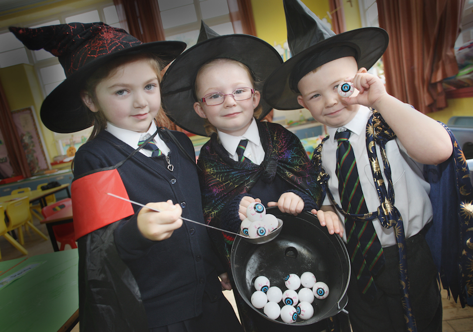 Primery one's Abbie, Michael and Lacey get into the spirt of halloween at Cliftonville Integrated Primary School
