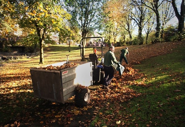 Council staff busy in the Waterworks as autumn takes a firm hold