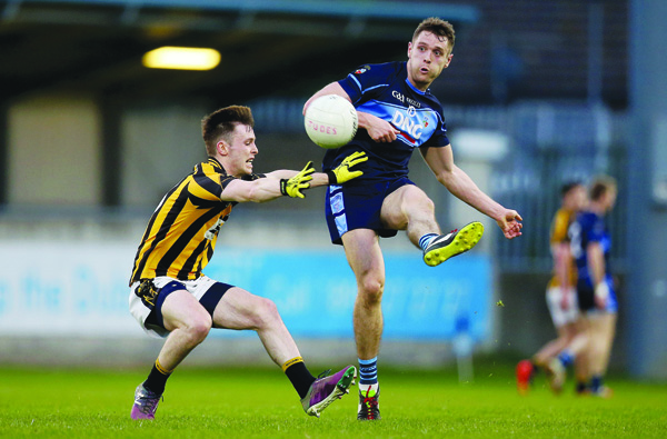 St Jude's star Mark Sweeney, pictured in action against Aodhan Fee of Naomh Mearnóg in last year's Championship, is hoping to help his club collect a first Dublin Senior Football Championship title against Kilmacud Crokes at Parnell Park this evening