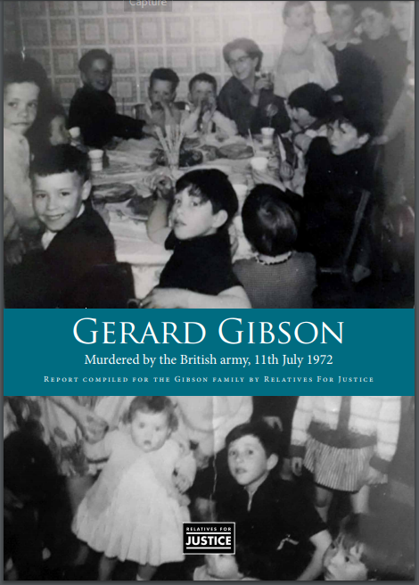 The cover of the new report features two poignant family pictures of Gerard Gibson