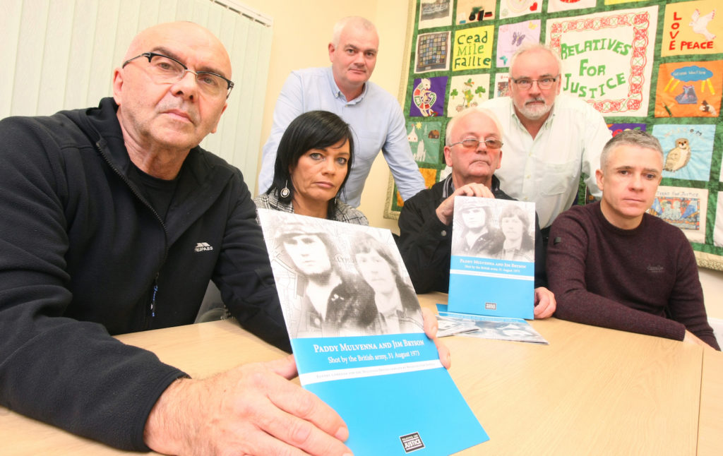 A report by Relatives for Justice into the shooting of Paddy Mulvenna and Jim Bryson.  Pictured with RFJ caseworker Paul Butler are Tina McComb, Bill McComb, Frank Duffy, Pat Conway (RFJ caseworker) and Patrick Mulvenna.