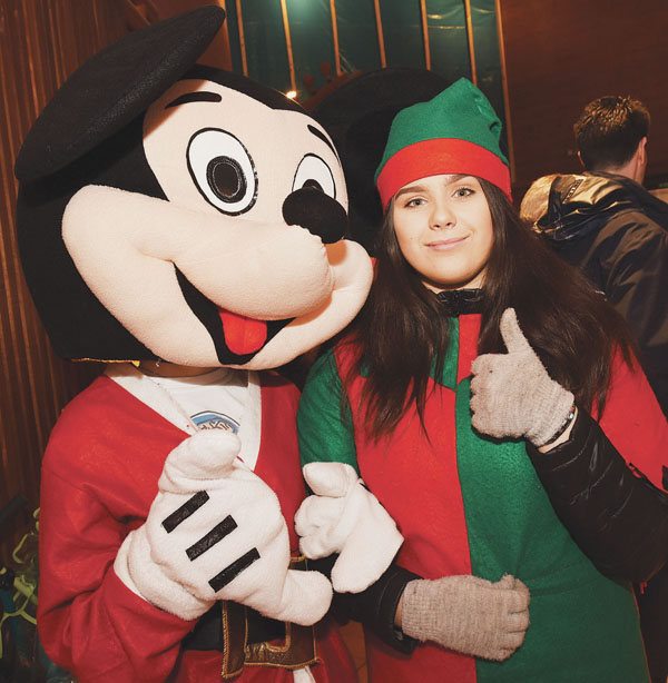 Meabh Burns with Mickey Mouse at the Colin Town Square Christmas lights switch-on