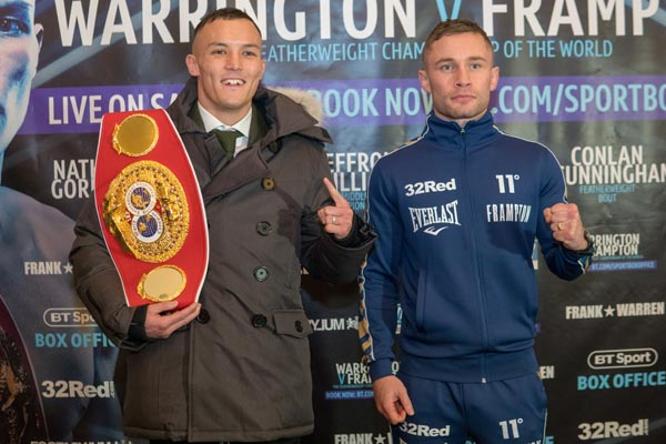 Carl Frampton and IBF featherweight champion, Josh Warrington at yesterday's final press conference in Manchester