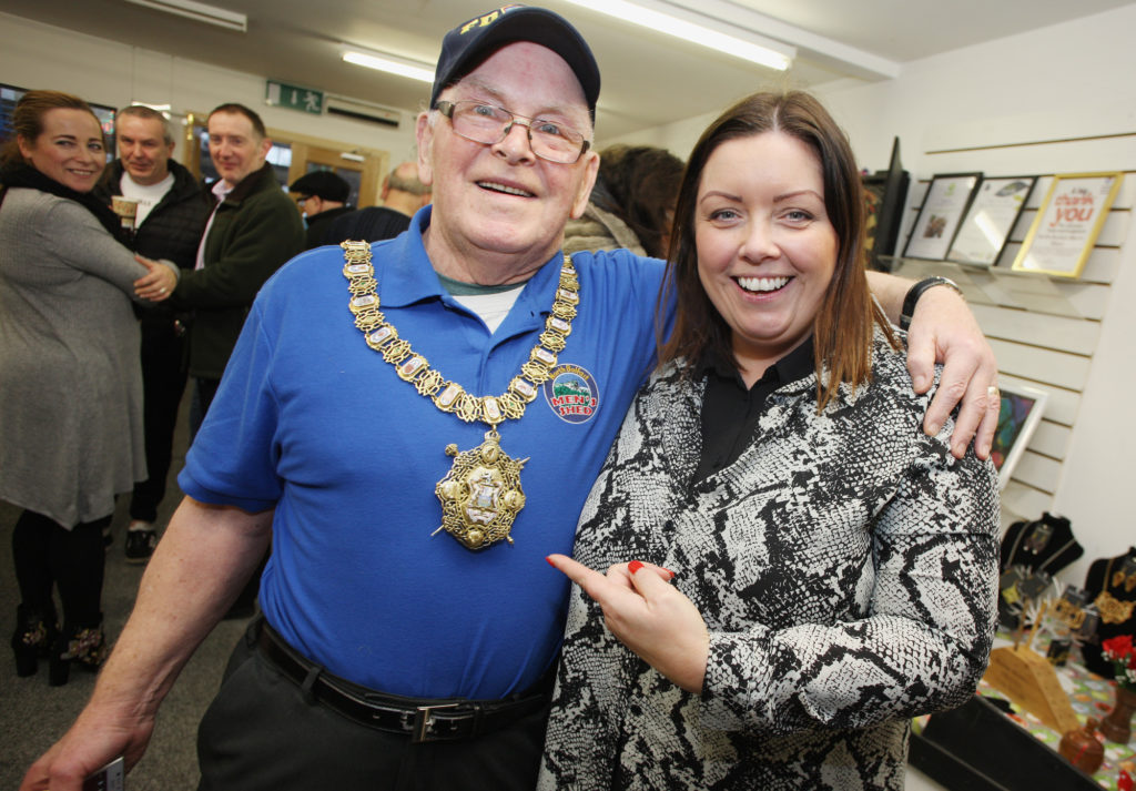 North Belfast Men's Shed Open Day and Christmas Sale, Roy Esdale with Belfast Mayor Deirdre Hargey