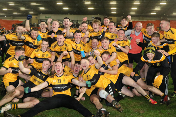 Naomh Éanna celebrate after defeating Mullahoran in the Ulster Club IFC final in the Athletic Grounds on Saturday night