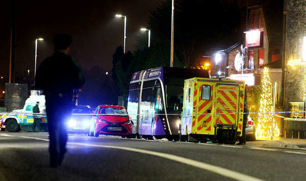 The scene of the collision on the Andersonstown Road on Monday afternoon