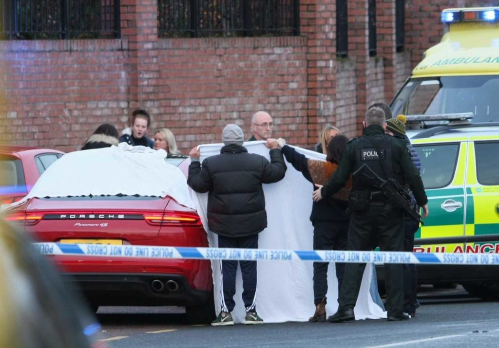 The scene immediately after the brutal murder yesterday afternoon