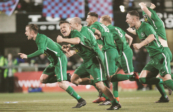 : Crumlin Star, pictured celebrating their Border Cup final defeat of Ballynahinch Olympic over the festive period, bid to reach the last eight of the Irish Cup when they face Championship 1 leaders Larne at Inver Park on Saturday afternoon