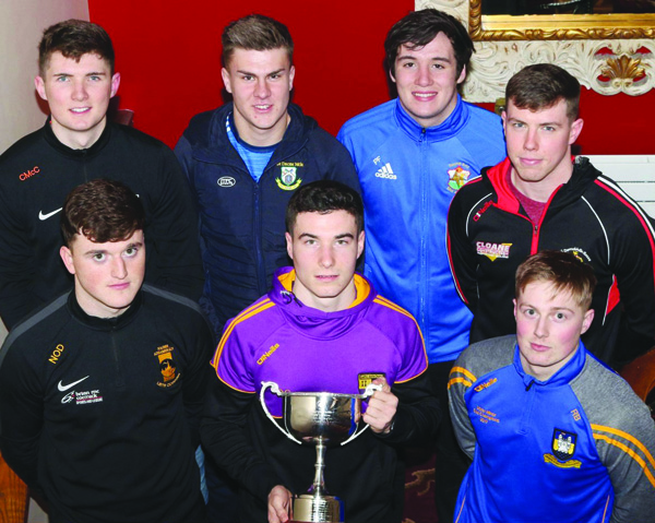 Patrick Finnegan of St Brigid's (back row, third from left) and Carryduff's Daniel Guinness (front row, centre) represented their clubs at the launch of the Creggan U21 Football Tournament
