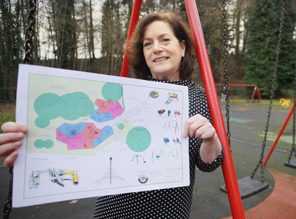 STATE-OF-THE-ART:Cllr Geraldine McAteer with the new plans for Shaws Bridge play park