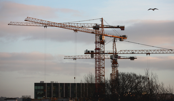 Cranes catching the last rays of the day on the construction site of Ulster University, York Road