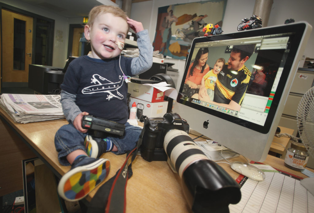 Little Dáithí Mac Gabhann was at home in the Andersonstown News office this week
