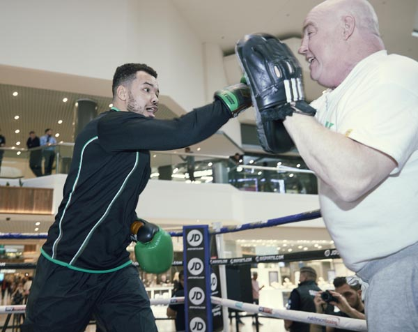 Tommy McCarthy works the pads with trainer, Tony Dunlop ahead of tonight's WBA Inter-Continental cruiserweight title fight against Richard Riakporhe in Peterborough Picture By Mark Robinson.