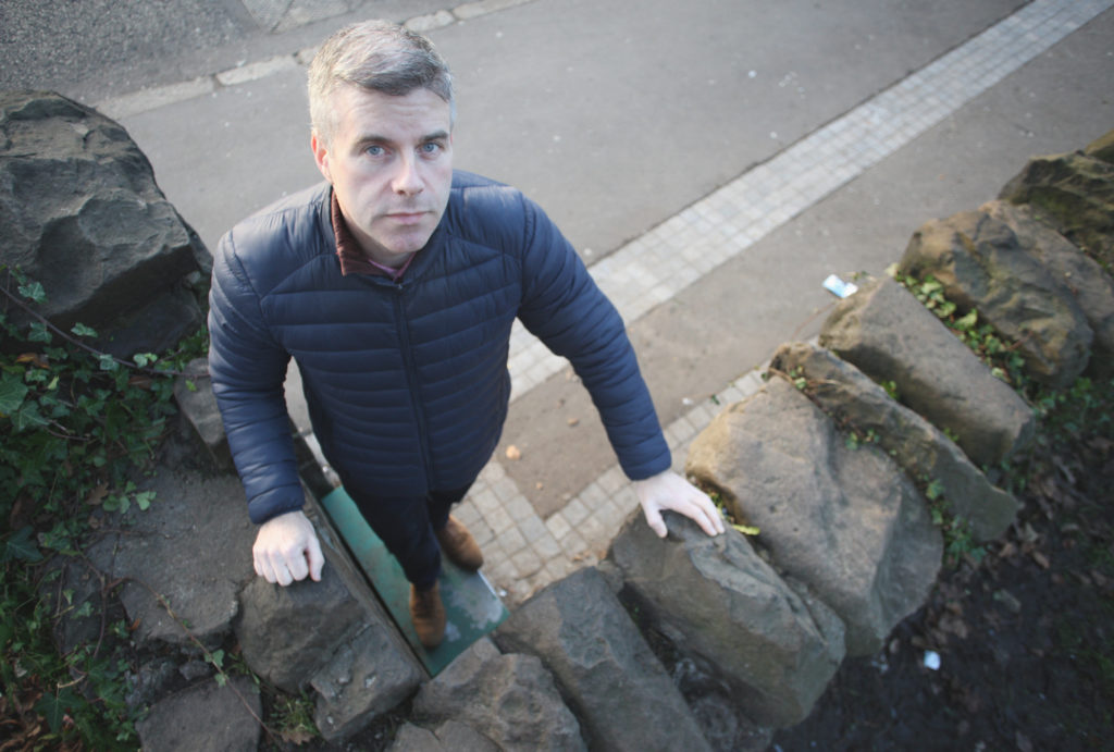 Stevie Corr at entrance to Falls Park