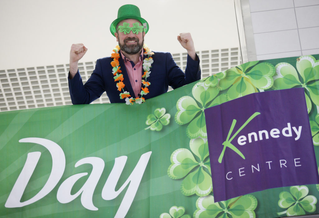 Kennedy Centre Manager John Jones gets in the mood for a big day of St Patrick's Day celebrations this weekend.