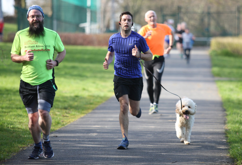 Running for some, walkies for others at the Queen's Park Run at the Dub at the weekend