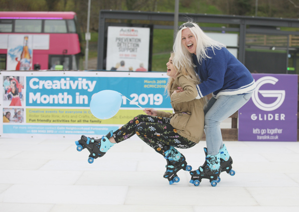 Family fun, Anne Marie and Natasha O'Hare at the Roller Skate Rink in New Colin Town Square as part of Creativity month