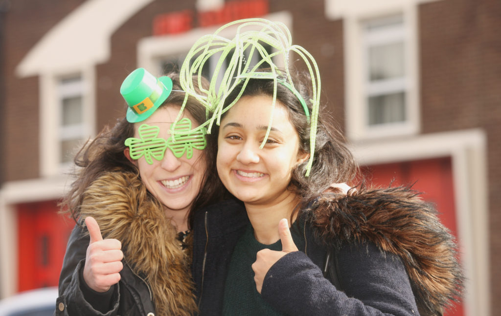Mandy Gill and Charlotte Lomer getting in the mood for St Patrick's Day on the Lisburn Road ahead of Sunday's celebrations