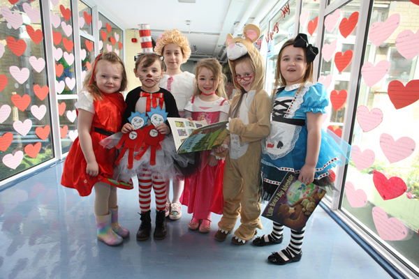 World Book Day at Mercy Primary School with P1's Molly, Aoife,  Jodie, Darcy, Lucy and Kieva