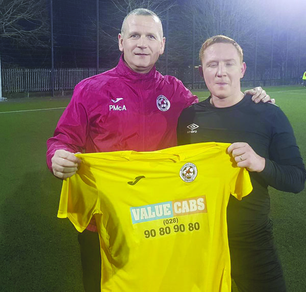 Sport and Leisure Swifts midfielder Stephen McAlorum, pictured with manager Packie McAllister, will return from suspension for Saturday's crucial game against Armagh City at Holm Park