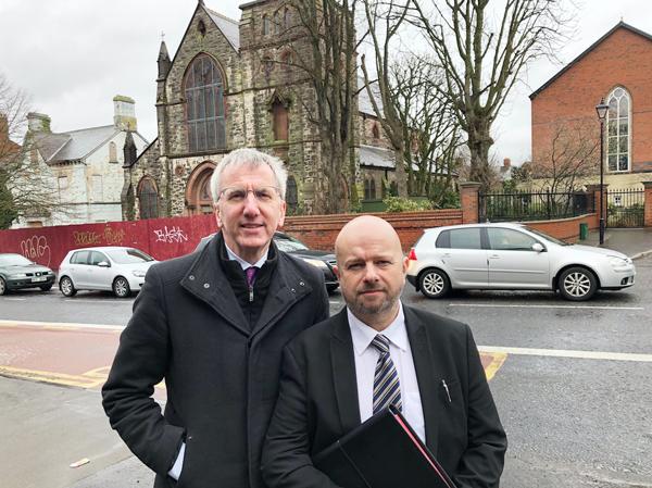 PUBLIC MEETINGS:South Belfast MLA Máirtín Ó Muilleoir with election candidate Stevie Jenkins, right