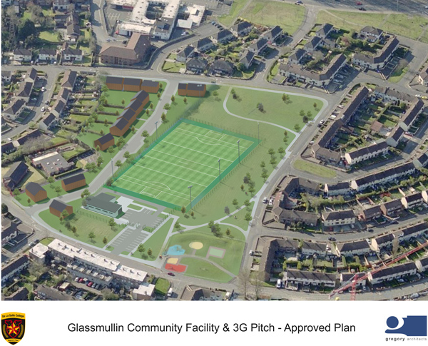 ON THE GREEN: The proposed school pitch and landscaped walkways at Glassmullin