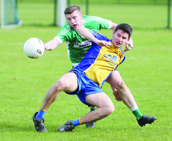 St Brigid's clash with Aghagallon in the Antrim Football League Division One match at Musgrave yesterday. St Brigid's won by 1-13 0-15