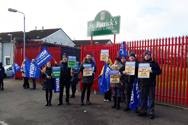 NASUWT members from St Patrick's Primary School began the first of three planned days of strike action on Tuesday morning