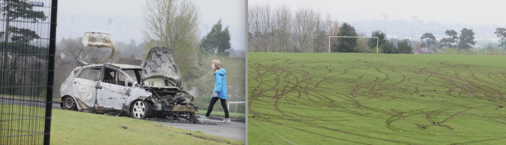 The burnt out car and the devastation caused to the pitch in the Falls Park
