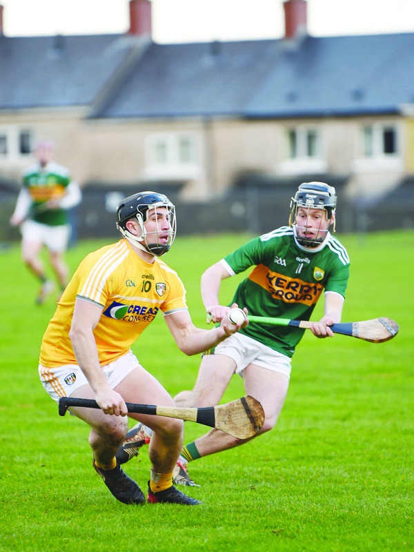 Antrim attacker Nigel Elliott comes under pressure from Kerry's Shane Conway during January's league clash at Corrigan Park. The Kingdom emerged from that tie with a two-point victory and Antrim will be hoping to overturn that result when they host Kerry in their Joe McDonagh Cup opener on Saturday evening in Dunloy