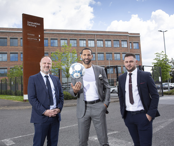 PERFECT PITCH: Shane Smith (Innovation Factory Community Engagement Officer), Rio Ferdinand (New Era ambassador) and Lee Mudd (former professional footballer who is heading up the new Belfast office)