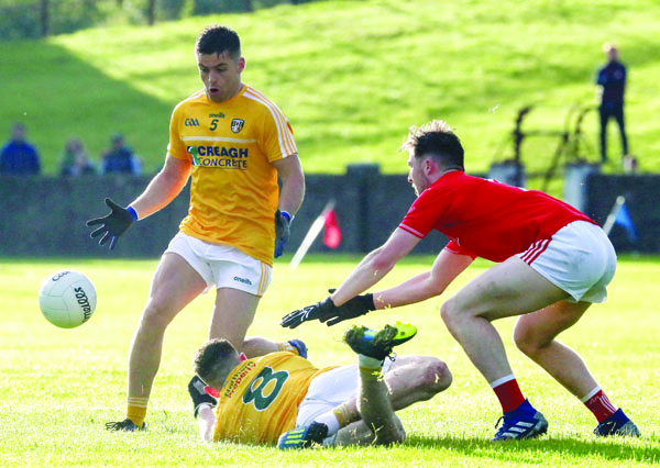 Paddy McBride, pictured in action against Louth, feels if Antrim reproduce their showing from the win over the Wee County, they can shock Kildare at Corrigan Park on Saturday afternoon