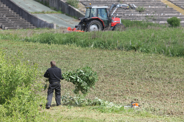 FRUSTRATION: Cutting the grass at Casement Park at last week, however, six years on from its closure local MP, Paul Maskey, wants a decision made on the new planning application