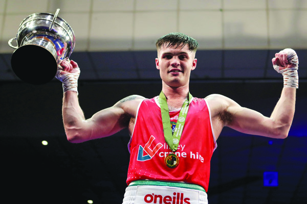 James McGivern celebrates following his win in the Irish Elites at the National Stadium in February and the South Belfast boxer is hoping to move a step closer to Olympic qualification when he competes at the European Games at Minsk
