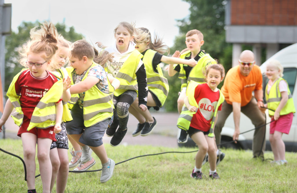 John Hubbucks and his Mobile Team Adventure helps with the sports day at Aisling Daycare on Hannahstown Hill
