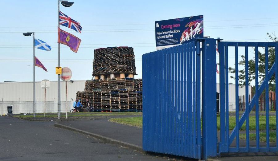 A loyalist bonfire has been erected in the car park of the East Belfast leisure centre