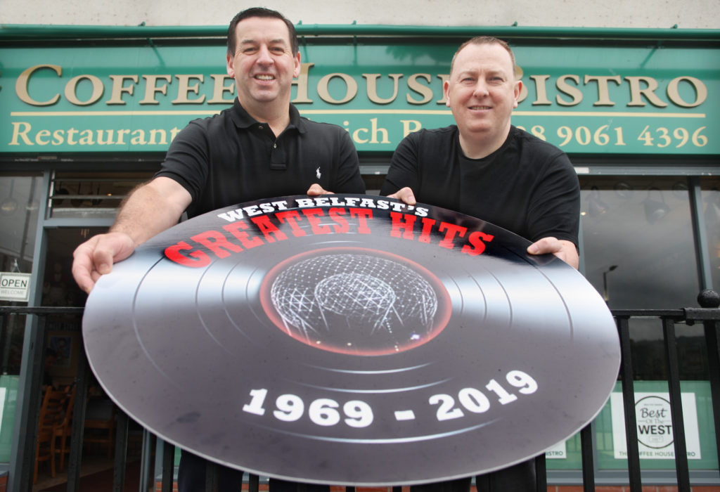 ROLLING BACK THE YEARS: Jim McIlwaine from the Coffee House, left, and the Andersonstown News' Gerard Mulhern invite readers to West Belfast's Greatest Hits