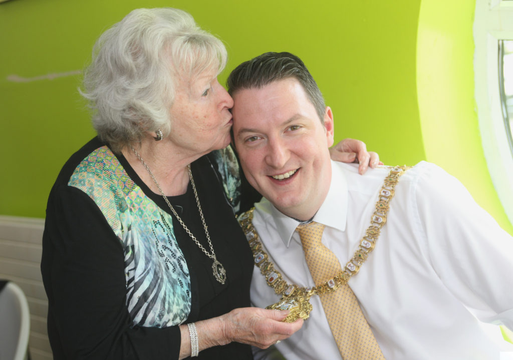 Geraldine Brannigan with Lord Mayor john Finucane at the Tullymore Community Centre. The Lord Mayor was visiting as part of a celebration of older people's programmes
