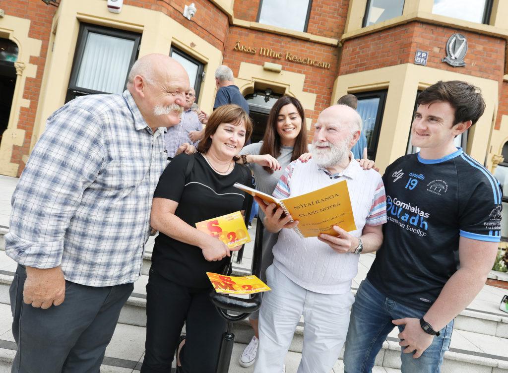 Art Hughes, Marguerite Kerr, Sean Mac Cionnaith, Róise Nic Corraidh and Pádraig Ó Tiarnaigh at the Áras Mhic Reachtáin Summer School