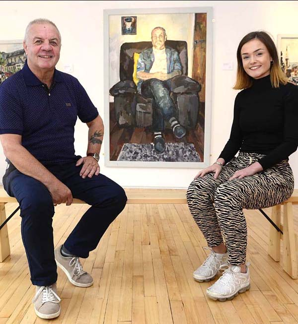 SUBJECT: Raymond McCord with portrait artist Shauna Fox and her latest work