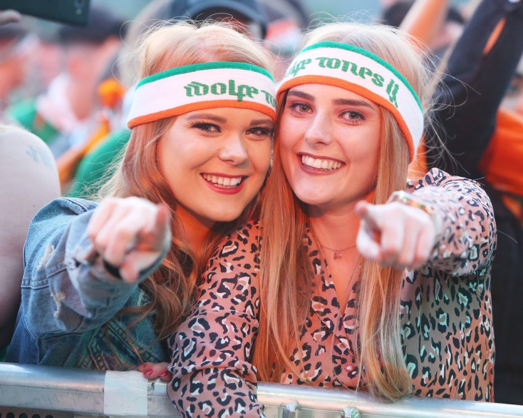Sisters Grace and N'iamh Rainey at last night's Wolfe Tones concert in the Falls Park