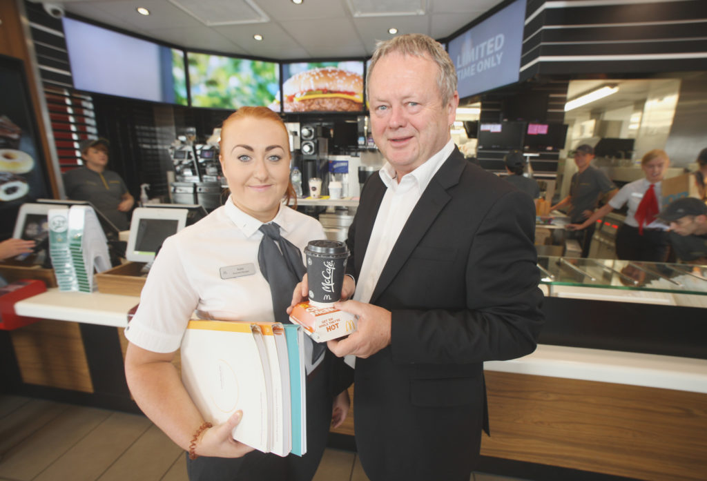 GREAT SERVICE:Des Lamph, McDonald's franchisee at Westwoods, with Katie McManus at Westwood McDonald's
