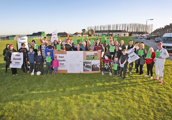 CAMPAIGN: Residents protest on Glassmullin Green against the De La Salle sports facility plan
