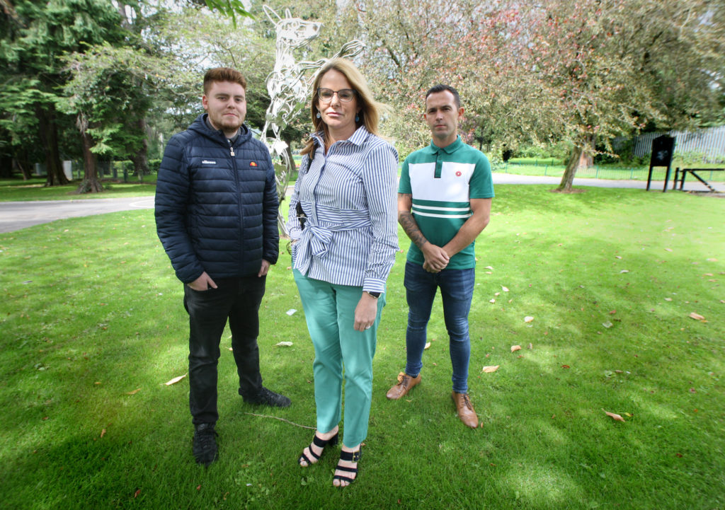 BACKING YOUTH WORKERS: Sinn Féin councillors Tina Black, Ronan McLaughlin (left) and Michael Donnelly