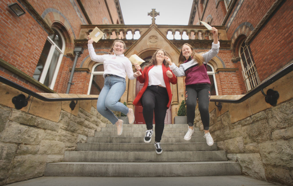 Getting their A-Level Results at St Dominic's Grammar School are Hannah Heaney, Melissa McQuade and Eirinn McAleese
