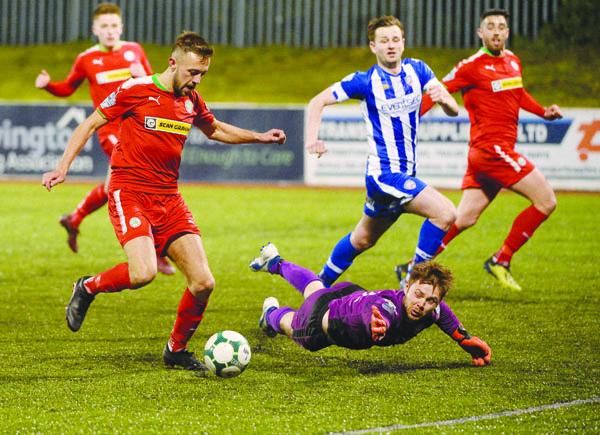 Conor McMenamin finds the net when Cliftonville overcame Coleraine in last season's Europa League playoff