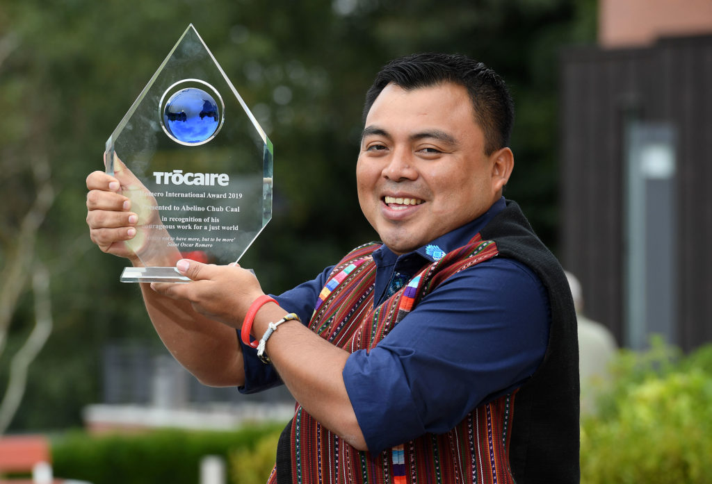 RECOGNITION: Abeline Chub Caal with his Trócaire award